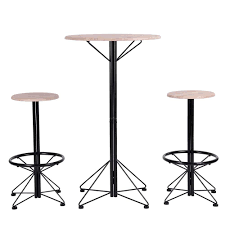 Buy FurnitureR Bar Table And Chairs Set Of 3 – Wooden Round ... Fniture Extraordinary Pub Style Ding Room Sets Bar Stool Wooden Plans Height Table Small Set Rooms Amusing Sizes Diy Handcrafted In North America Kitchen And Ding Room Canadel Buy Fniturer Chairs Of 3 Round The Kavara Counterheight Wdouble Barstool Details About Piece Stools Counter Bistro Inspiring Ideas For Pull Out And White Porter Brown Ashley Off Rustic Cheap 2 Find Deals On