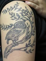 Bw Owl Tattoo On The Arm