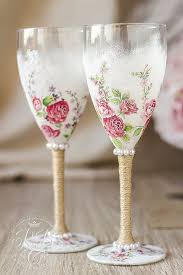 Wine Glasses Pink Roses Wedding Rustic Chic RusticBeachChic
