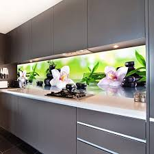 wandmotiv24 küchenrückwand orchidee bambus steine glas 260 x 60cm b x h acrylglas 4mm nischenrückwand spritzschutz fliesenspiegel ersatz deko