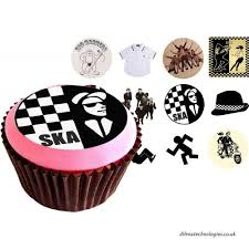 Ska Two Tone 12of 38mm 15 Inch PRE CUT Cake Toppers Edible Rice Paper Cupcake Decoration Music B00CMBNIAE