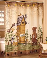 nature calls shower curtain comical bear moose outhouse country