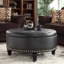 Black Leather Couch Living Room Ideas by Round Grey With Tufted And Nailhead Leather Storage Ottoman For