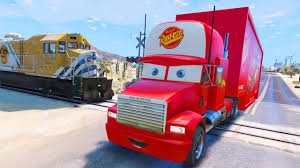 Mack Truck Hauler Crash - Disney Cars In Trouble With Train ...