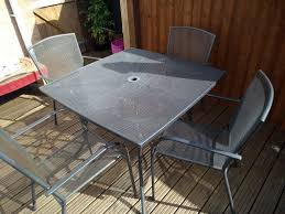 4 Seater Metal Garden Table And Chairs   In Poole, Dorset   Gumtree Brompton Metal Garden Rectangular Set Fniture Compare 56 Bistro Black Wrought Iron Cafe Table And Chairs Pana Outdoors With 2 Pcs Cast Alinium Tulip White Vintage Patio Ding Buy Tables Chairsmetal Gardenfniture Italian Terrace Fniture Archives John Lewis Partners Ala Mesh 6seater And Bronze Home Hartman Outdoor Products Uk Our Pick Of The Best Ideal Royal River Oak 7piece Padded Sling Darwin Metal 6 Seat Garden Ding Set