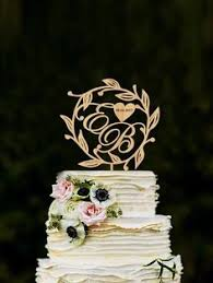 Letter B Cake Topper Initial Rustic Wooden Wedding Wood Gold Silver