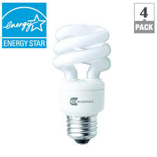 ecosmart 40w equivalent bright white spiral cfl light bulb 4 pack