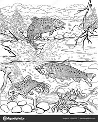 Underwater Life On The River Trout And Cancer Swim Under Water In Background Depicts A Forest Landscape Hand Drawn Coloring Page