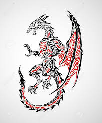 Dragon Tattoo Red And Black 18 Tribal Gothic Stencil