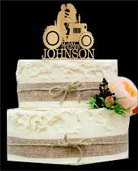 Tractor Wedding Cake Topper Bride And Groom