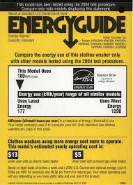 Energy Guide Label For Staber Clothes Washer