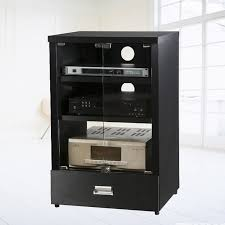 Media ponent TV Stand Black Audio Stereo Cabinet Storage Within