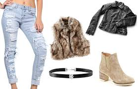 Mild Winter Womens Outfit Leather Jacket Faux Fur Vest Distressed Jeans Booties Choker