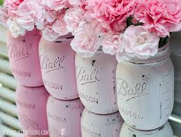 Painted Mason Jars Pink