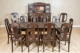 Oaken Art Nouveau Dining Room Set, Circa 1910-1920 (c. 1910 To C ... Antique Vintage Art Nouveau Style Set Of 4 Carved Oak Ding Chairs Of Six French Louis Majorelle Caned Mahogany Unusual Victorian Walnut Wrought Iron Floral Lovely Important By Ernesto Basile For Ducrot 6 517550 Ding Chairs Art Nouveau Chair Set Sold Eight Period Tallback Stunning Inlaid High Back 2 Vinterior Fniture Antique Cupboards Tables