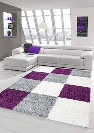 shaggy teppich hochflor langflor teppich wohnzimmer teppich gemustert in karo design lila grau creme größe 60x110 cm