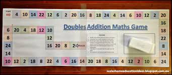 Suzies Home Education Ideas Printable Addition Doubles Game Plus One Math Worksheets Boar