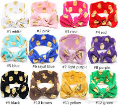shiny gold foil dot bunny ear headband good elastic rabbit baby