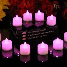12 Pink Battery Operated Tealights Flickering LED Candles