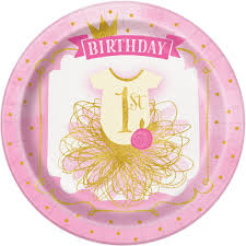 Pink And Gold Birthday Themes by Pink And Gold 1st Birthday Paper Plates 1st Birthday Party