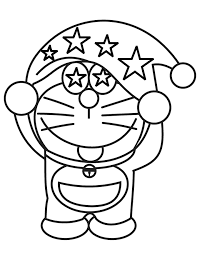 Doraemon Wearing Hat With Stars Coloring Page