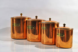 Copper Container Set Kitchen Decor Farmhouse Rustic French Country Tea Sugar Coffee Flour Keeper