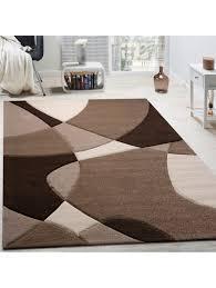 paco home designer teppich modern geometrische muster konturenschnitt in braun creme beige klingel