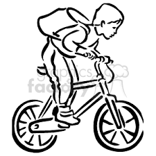 300x300 Royalty Free Black And White Boy Riding His Bike With A Backpack