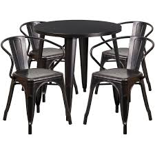 Flash Furniture 30 Round Black Antique Gold Metal Indoor Outdoor