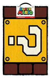 super mario question mark block doormat multi colour 40 x 60 cm