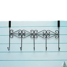 Hat Clothes Coat Towel Bag Over Door Bathroom 5 Hooks Hanger Hanging Rack Holder Black