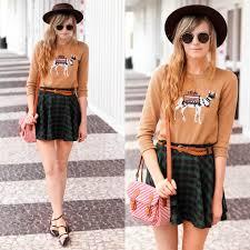 steffy degreff j crew camel sweater chic wish plaid skirt
