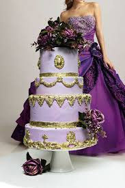 Beautiful Purple And Gold Wedding Cakes Gallery