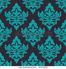 Turquoise Floral Seamless Pattern On Dark Brown Background In Damask Style For Wallpaper Tiles