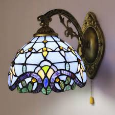 blue baroque stained glass one light wall sconce light