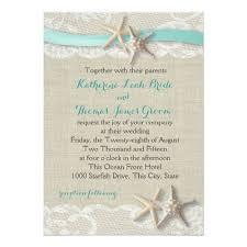 Destination Wedding Invitations Starfish And Ribbon Beach Aqua Card