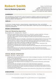 Internet Marketing Specialist Resume Sample