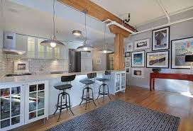 Eclectic Kitchen With Pendant Light Ceramic Tile Flush Subway Exposed