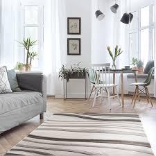 teppich wohnzimmer grau gold kurzflor wellen muster myshop24