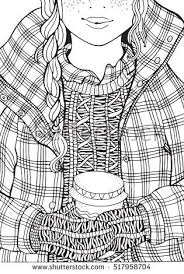 Winter Girl And Coffee Adult Coloring Book Page A4 Size Hand Drawn