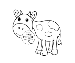 Little Cow Cartoon Animals Coloring Pages For Kids Printable Free