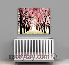 Tree Wall Decor Baby Nursery by Cherry Blossom Canvas Large Canvas Art Pink Baby