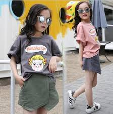 China Children Clothes Sets Girl Fashion Clothing Outfits T Shirt Skirt Kids Korea Boutique