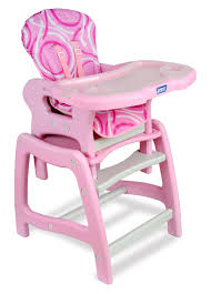 Badger Basket Envee Baby High Chair With Playtable, Pink And White