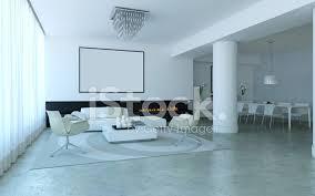 weiß minimal lounge stil wohn und esszimmer stockfotos