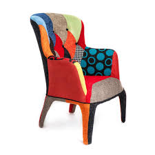 100 Contemporary Armchair Modern Armchair Mara Completely Upholstered With Patchwork Fabric