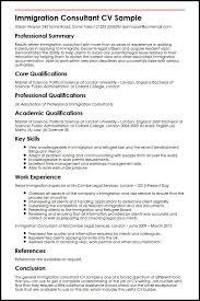Immigration Consultant CV Sample