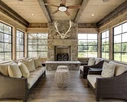 Mid Sized Mountain Style Medium Tone Wood Floor And Gray Sunroom Photo In Minneapolis