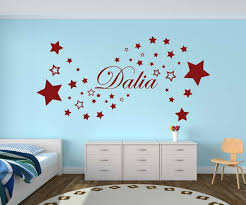 wandtattoo set name dalia kinder wand aufkleber sticker bunt wandbild sterne deko kinderzimmer babyaufkleber farbauswahl nam427