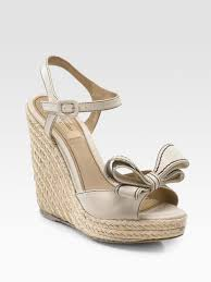 valentino couture bow espadrille wedges in natural lyst